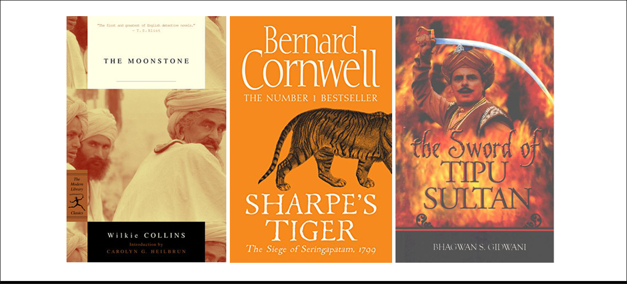 Tipu Sultan fiction | Book cover images | 'The Moonstone' by Wilkie Collins | 'Sharpe's Tiger: The Seige of Seringapatam, 1799' by Bernard Cornwell | 'The Sword of Tipu Sultan' by Bhagwan S. Gidwani