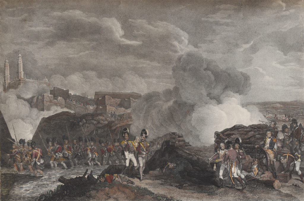 British soldiers crossing the Cauvery at the battle of Srirangapatna