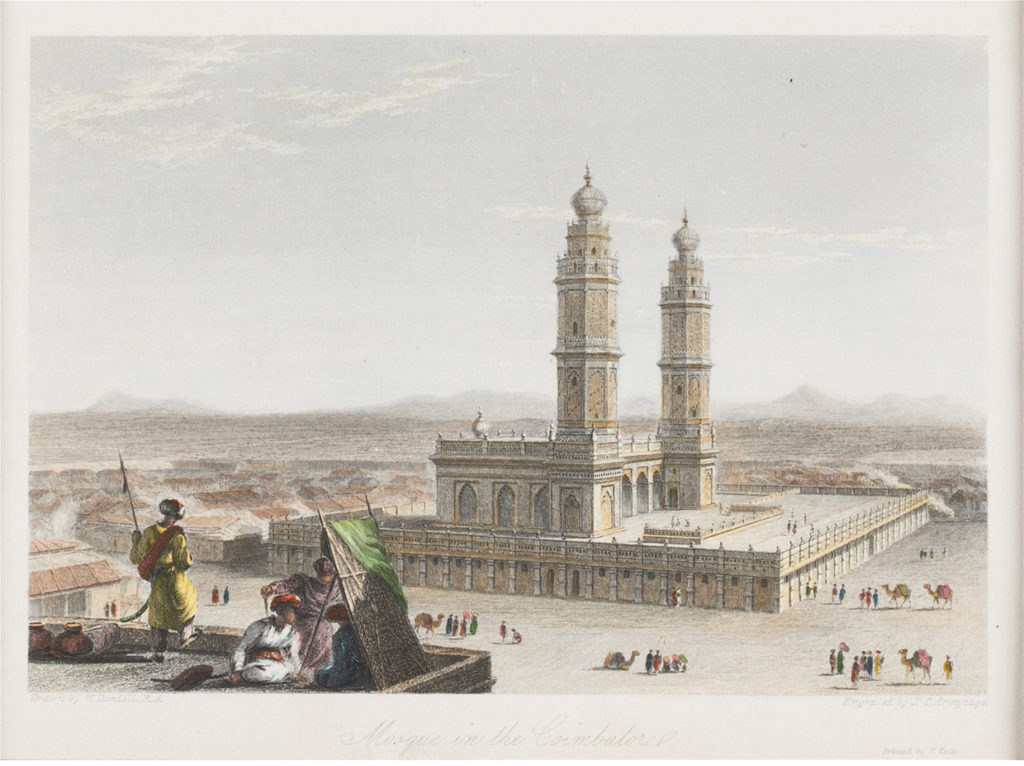 Engraving showing a mosque in Coimbatore