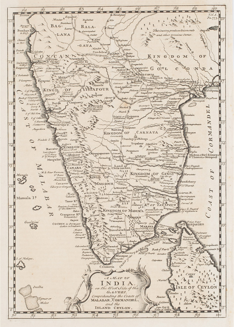 18th Century map of Southern regions of India