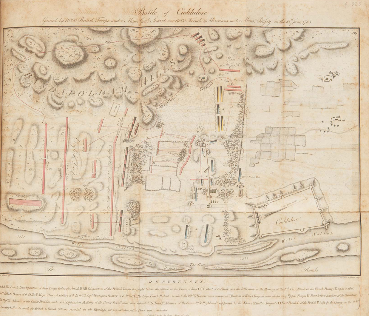 Old map of the battle of Coromandel