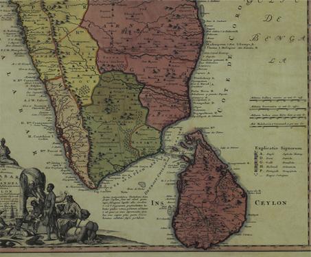 Map of the Coasts of Malabar, Coromandel and Ceylon (now Sri Lanka) - 18th century, Johann Baptist Homann, Kerala, Sarmaya Stars, South India, Sri Lanka, Tamil Nadu