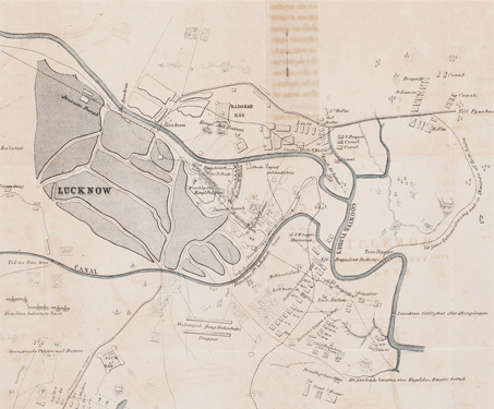 Plan of Operations in Lucknow during the 1857 Rebellion - 1857 Uprising, Battles & Battlefields, British India, East India Company, Fortification, Gomti, Imambara, Military, Mughal