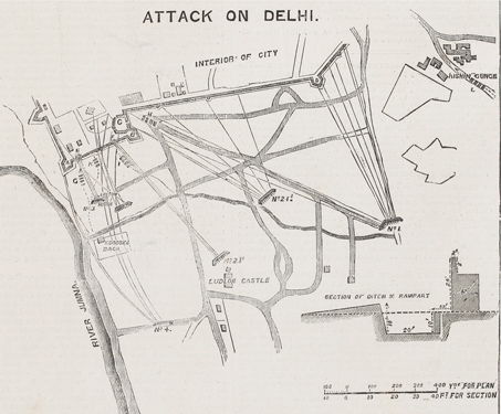 Plan of the Attack on Delhi - 1857 Uprising, Battles & Battlefields, British India, East India Company, Fortification, Ludlow Castle, Military, Mughal, Rebellion