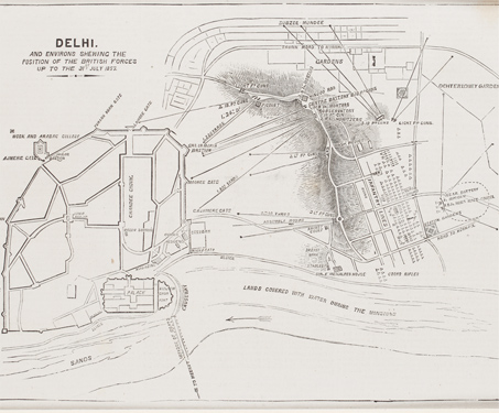 Plan of the Position of the British Forces in Delhi, 1857 - 1857 Uprising, Battles & Battlefields, British India, Chandni Chowk, East India Company, Fortification, Military, Mughal