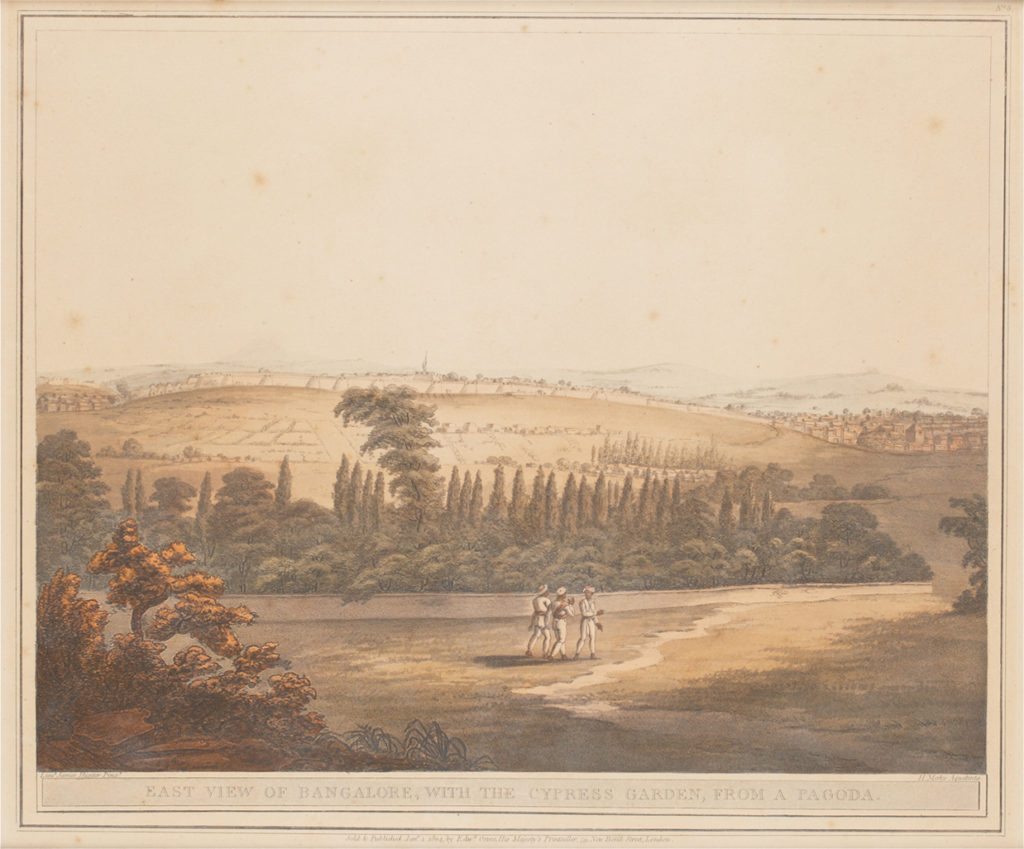 East view of Bangalore with Cypress Garden - aquatint engraving