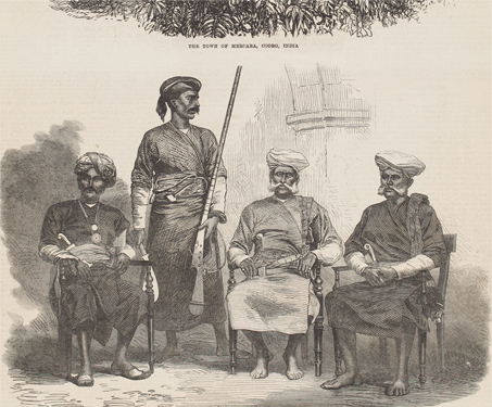 Native officials of Coorg, India - Coorg, Engraving, Imagining Mysore, Indian officials, Karnataka, Print, Rebels & Revolutionaries