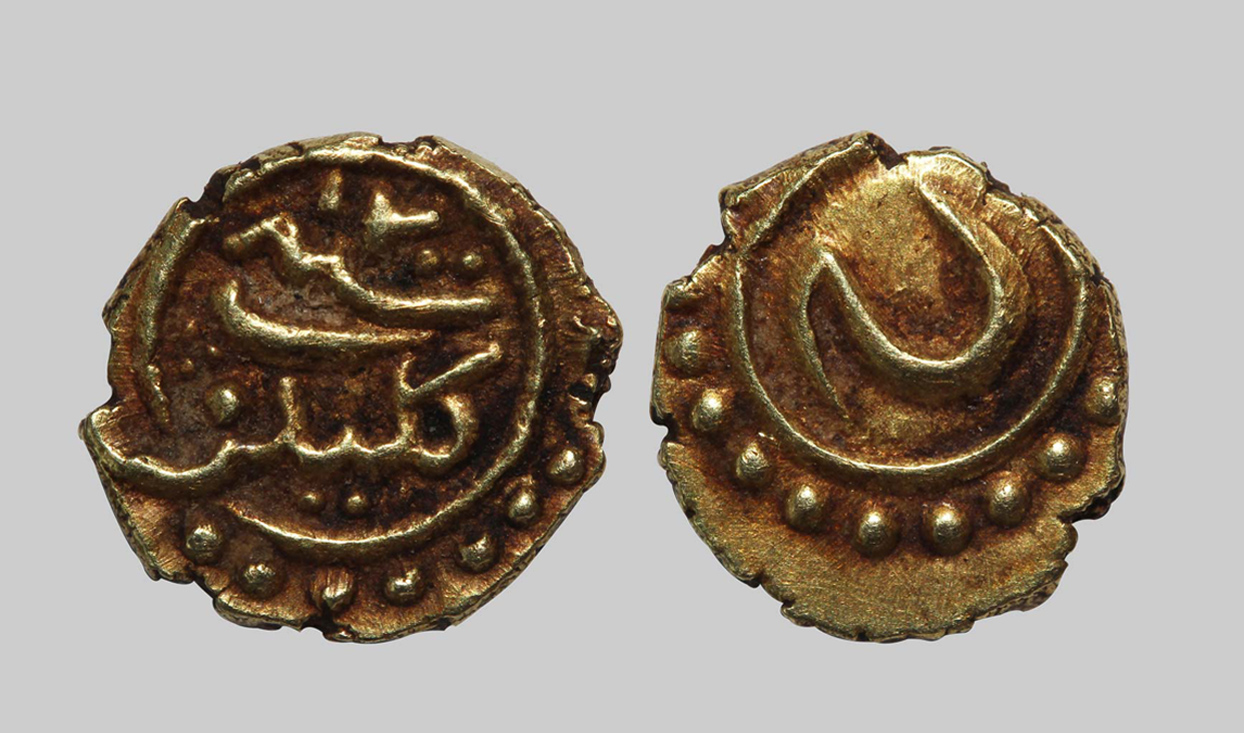 Gold fanam coin from the Calicut Mint