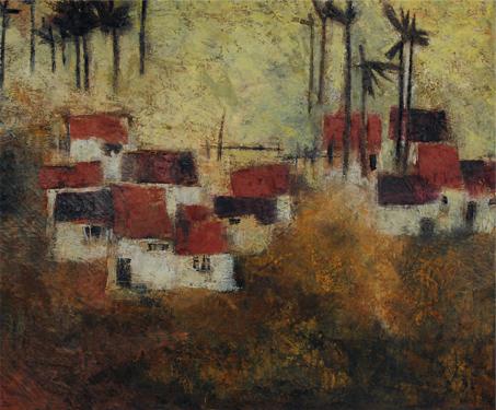 Houses with Palm Trees - BN Prabha, Landscapes, Sarmaya Stars