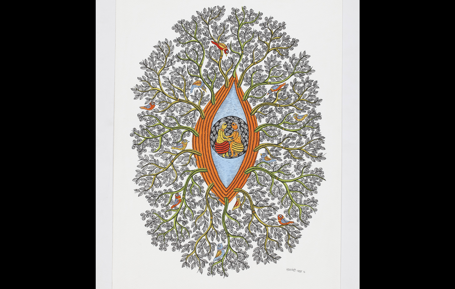 Gond art of foliage pattern with a central opening that hints at the fertility of Mother Earth.