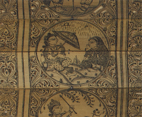 Talapattachitra: Krishna Raas Leela - Ink on Palm Leaf, Odisha, Pattachitra, Sarmaya Stars