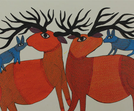 Gond: Deer with Foxes - Animals, Deer, Digna, Durga Bai, Foxes, Gond, Madhya Pradesh, Poetry & Nature