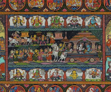 Pattachitra: Krishna Ras Leela - Akshaya Kumar Bariki, Dancers & Costumes, Gum Tempera on Cloth, Hinduism, Indian Mythology, Odisha, Pattachitra, Radha
