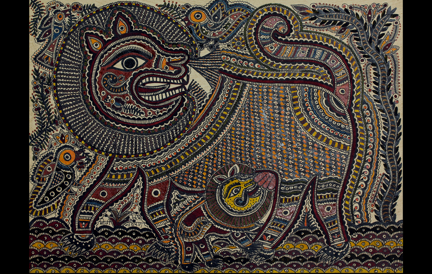 Mithila painting or Madhubani art depicting a lioness milking her cub, while three birds hover around.
