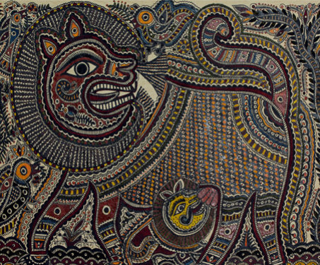 Mithila: Lion and Cub - Animals, Bihar, Lion, Madhubani, Poetry & Nature