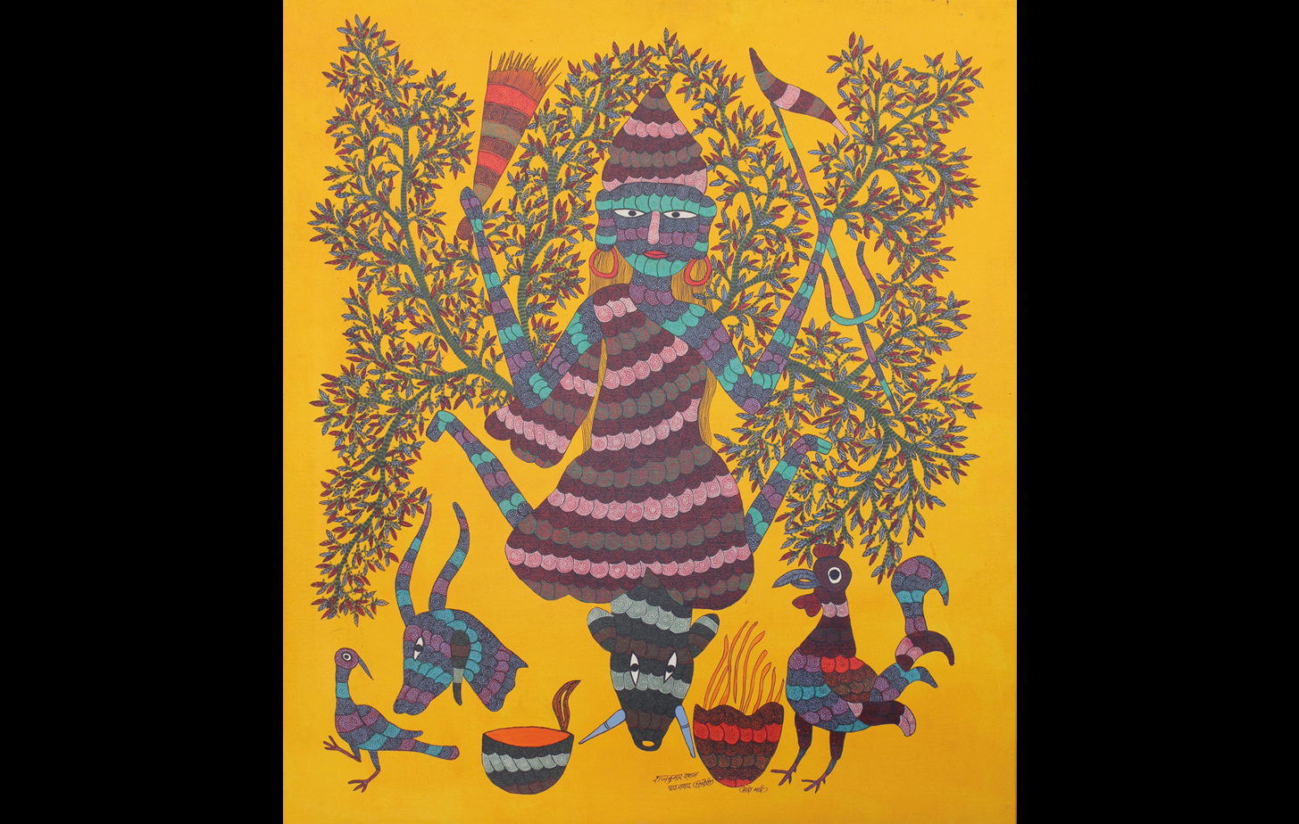 """Gond art of tribal goddess """"Maindo Mai"""" holding a broom and a trident, sitting on the head of a buffalo."""