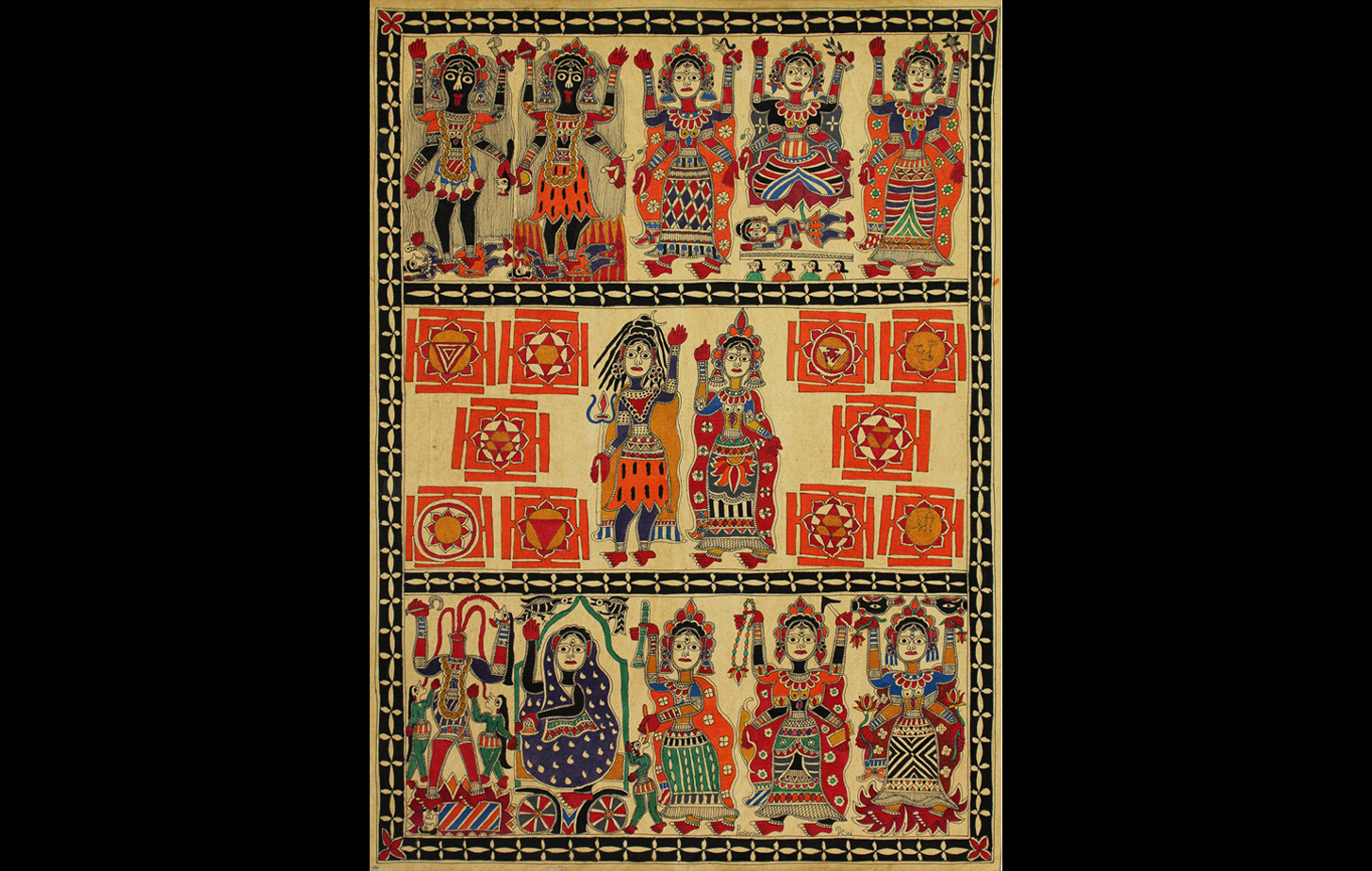 Mithila or Madhubani art depicting Shiva-Parvati in the centre, ritual geometric diagrams (or yantras), and the dasa mahavidyas or the ten great feminines. All aspects of the Tantra branch of Hinduism.