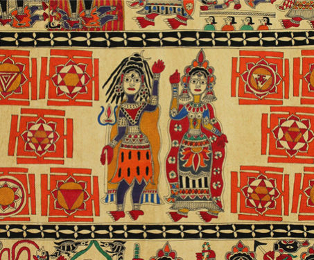 Shiva and Dasha Mahavidyas - Bihar, Devi, Gods & Goddesses, Hinduism, Indian Mythology, Madhubani, Mithila, Shiva-Parvati, Yantra