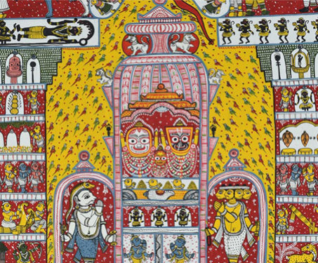 Pattachitra: Story of Jagannath - Akshaya Kumar Bariki, Brajkishore Bariki, Gods & Goddesses, Gum Tempera on Cloth, Hinduism, Indian Mythology, Odisha, Painted Stories, Pattachitra, Worship