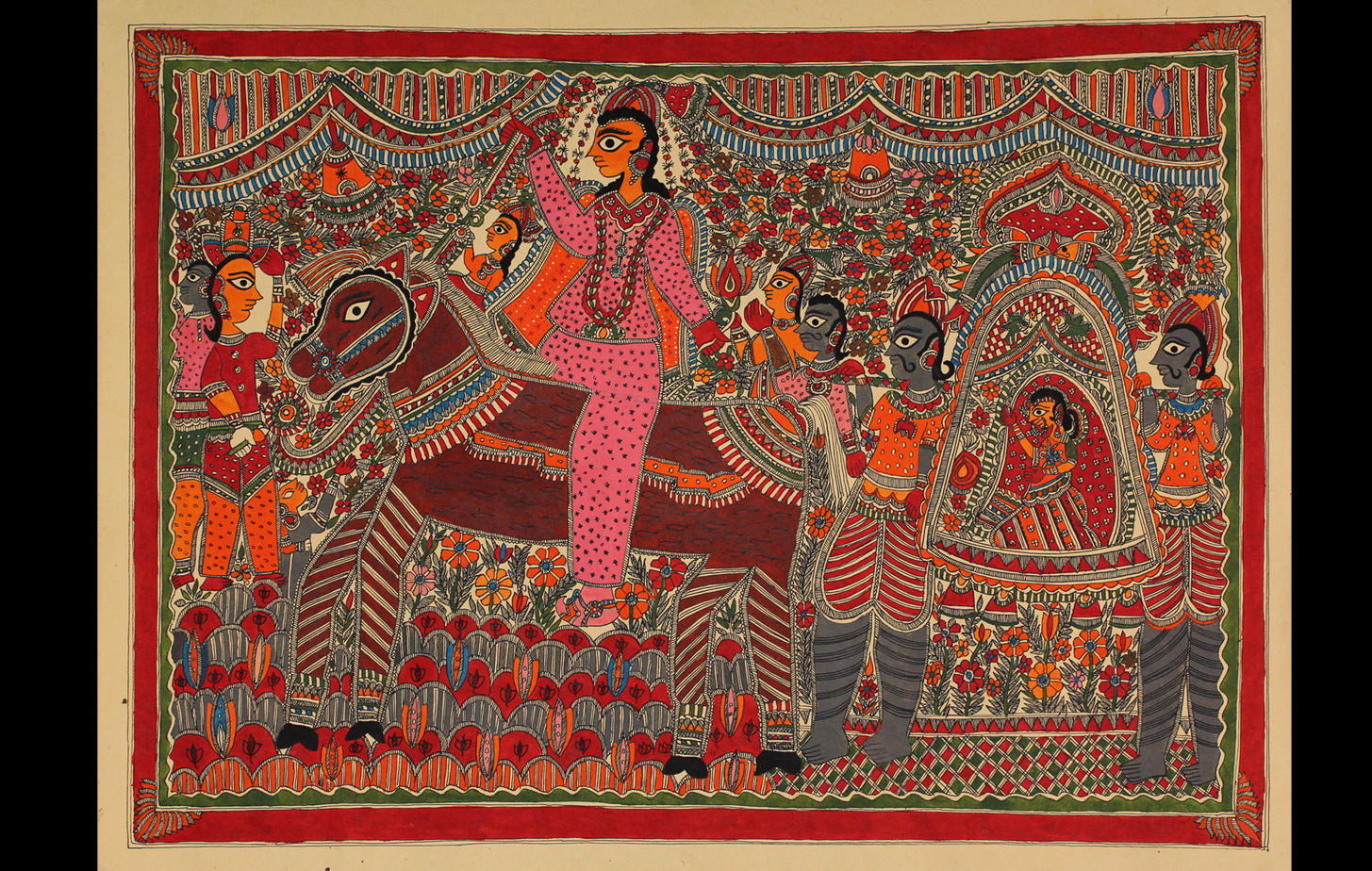 Mithila painting depicting a wedding procession with the groom on a horse and the bride in a palanquin.