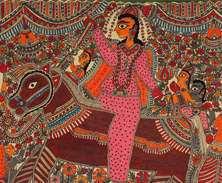 Mithila: The Procession - Animals, Bihar, Fish, Gouache and Ink on Paper, Gowna, Horses, Madhubani, Mithila