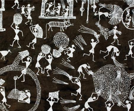 Warli: Threshing - Agriculture, Birds, Jivya Soma Mashe, Maharashtra, Rural Life