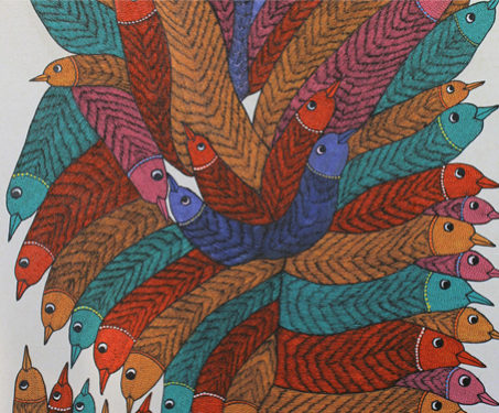 Gond: A Collective of Birds - Birds, Central India, Gond, Kaushal Prasad Tekam, Poetry & Nature, Print on canvas