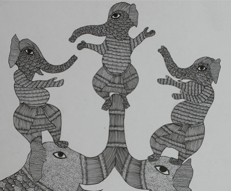 Gond: Dancing Elephants - Animals, Dancers & Costumes, Digna, Durga Bai, Elephants, Gond, Madhya Pradesh
