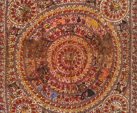 Mata No Chandarvo: Meladi Mata - Dye on cloth, Gods & Goddesses, Gujarat, Mata ni Pachedi, Sarmaya Stars, Textiles