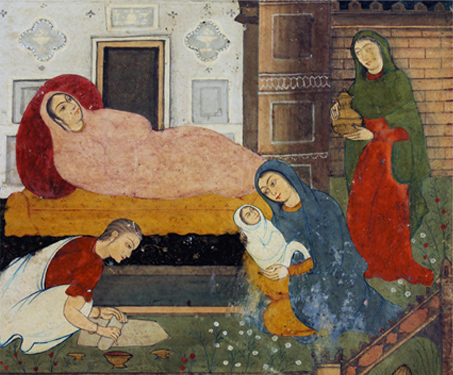 Birth of Christ - Christian Art, Faith & Folklore, Miniature Painting, Mughal Art