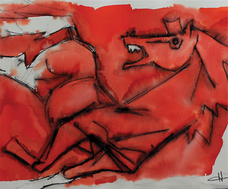 Red Horse Galloping - Animals, Horses, MF Husain, Poetry & Nature, Progressive Artists