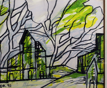 Townscape - FN Souza, Landscape, poet, Poetry & Nature, Progressive Artists