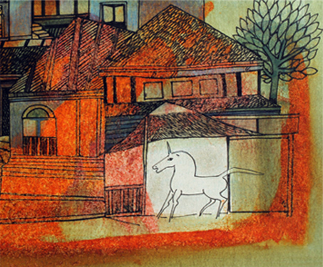 Unicorn on a Wall and Houses - Animals, Badri Narayan, Fantasy, Landscape, Myths & Legends, Unicorn