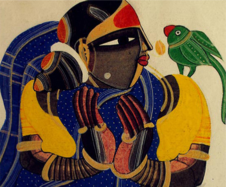 Woman with Parrot - Flora, Poetry & Nature, Progressive Artists, Still Life, Thota Vaikuntam
