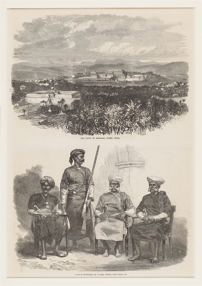 Mercara Town in Coorg and Coorgi Officials - engraving in The Illustrated London News
