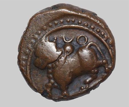 Devaraya I, Vijayanagara Empire, Copper Jital - Bull, Imagining Mysore, Jital, Karnataka, Legends, Moon, Sangama Dynasty, Sun, Vijayanagara Empire