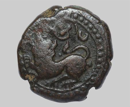 Dewan Purnaiya, Regent for Krishna Raja Wodeyar, Copper 12 1/2 Cash - Dewan Purnaiya, Imagining Mysore, Karnataka, Sardula, Tiger