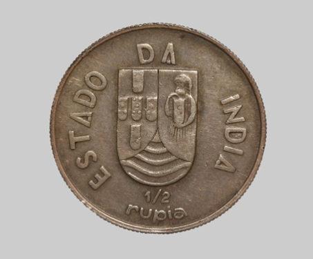 Goa Colonial Issue, Silver, 1/2 Rupia - Colonial Coins, Durbars & Colonials, Goa, Portuguese India, Shield