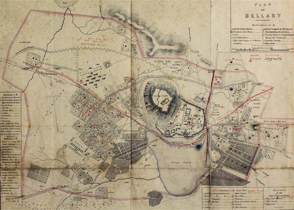 Map of Bellary including the fort