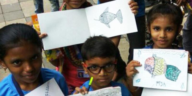 Gond workshop for street children - Sarmaya @School
