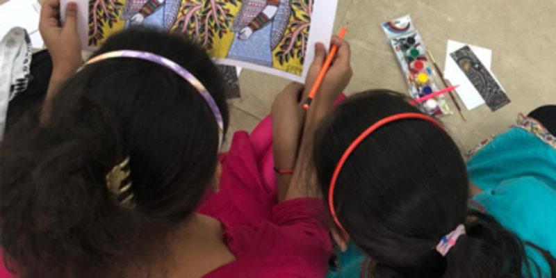 Madhubani art at a children's home - Sarmaya @School