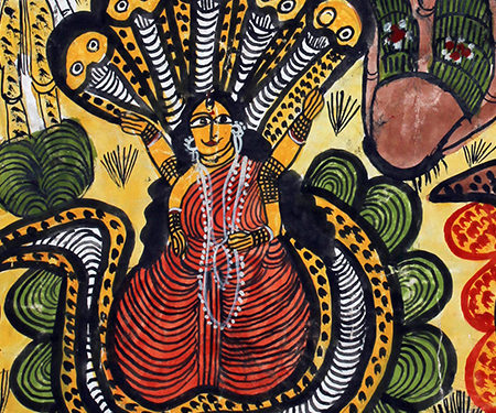Pattachitra: Manasa Goddess - Bengal Pata, Chitrakar, Folk and Indigenous Art, Goddess, Gods and Goddesses, Manasa, Mythology, Patas, Pattachitra, West Bengal