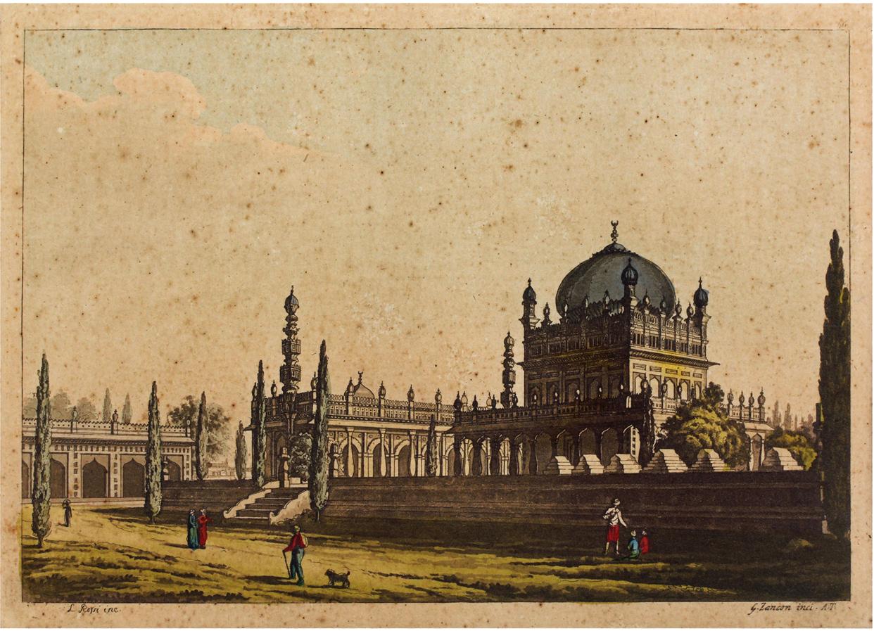 Engraving of the domed mausoleum at Srirangapatna