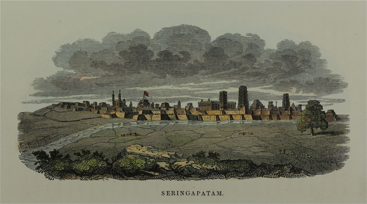 Seringapatam - an engraving of the town of Srirangapatnam from a distance in the landscape