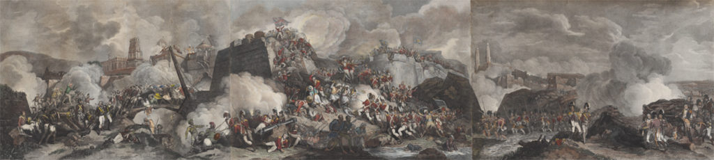 Panoramic triptych engraving of the conquest of Srirangapatna