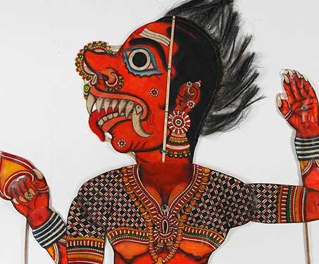Tholu Bommalata: Hanuman and Lankini - Andhra Pradesh, Goat skin and dye, Puppetry, S Chidambara Rao, Sarmaya Stars, Shadow Puppets, tholu bommalaata