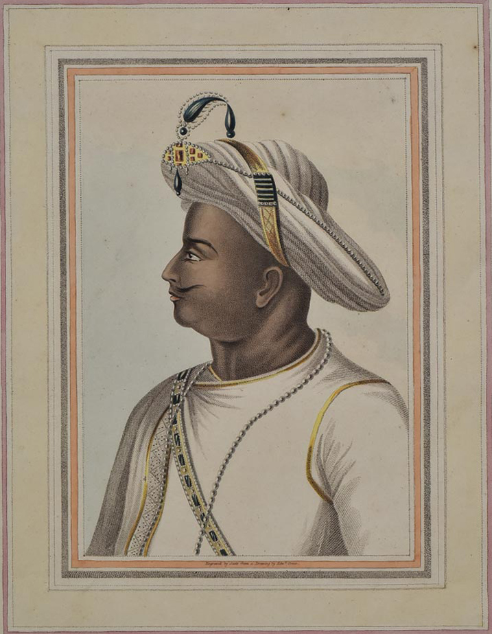 Engraving. Portrait of Tipu Sultan in profile. Man in white robes and turban.