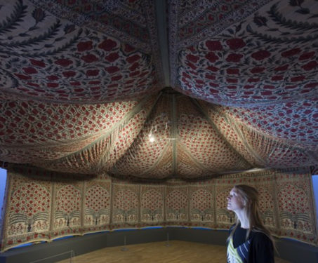 Tipu's tent in Mughan chitz fabric displayed at the V&A