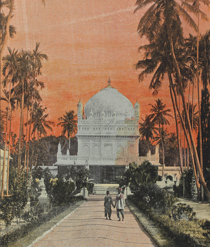 Engraving from a photograph of the tomb of Tipu Sultan and Hyder Ali. White domed mosoleum at the end of an ornate garden path, surrounded by palm trees.