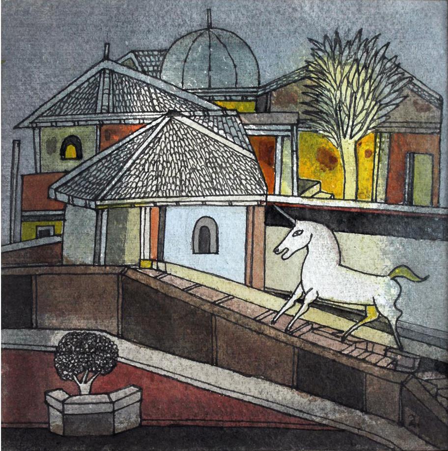 Man of signs - Badri Narayan, Fantasy, Paintings, Surreal, Watercolour